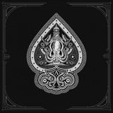 Ace Of Spades From Octopus With Cross Harpoons And Lighthouse Behinde. Sea Vintage Label On Black Royalty Free Stock Images