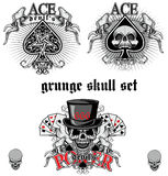 Ace Of Spades With Skull Skull Set Stock Image