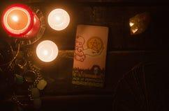 Tarot card. Future reading. Divination. Ace of pentacles Tarot card. Fortune teller stock image