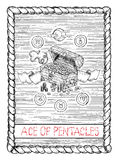 Ace of pentacles. The tarot card. Royalty Free Stock Photo