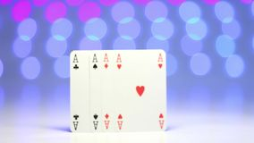 Ace play card on blurry colorful background as success concept stock video
