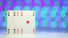 Ace play card on blurry colorful background as success concept stock video footage