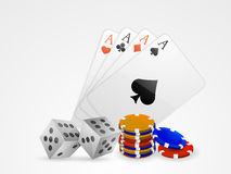 Ace playing card with dice and casino chips. Stock Photos