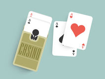 Ace playing cards for Casino. Royalty Free Stock Photography