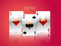Ace playing cards in flame for casino concept. Royalty Free Stock Photo