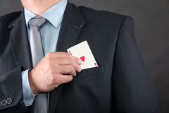 Ace in pocket. In Businessman jacket Stock Photography