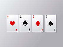Ace poker card set. Four ace cards. Vector illustration Royalty Free Stock Image