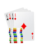 Ace poker cards and coins. Illustration of the four ace cards in poker with game coins Stock Photo