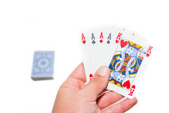 Ace Poker. Poker in hand on white background stock photography