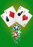 Ace poker. Illustration of aces poker with  colorful chips casino Royalty Free Stock Image