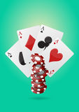 Ace poker. Illustration of aces poker with  colorful chips casino Stock Image