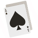 Ace spades. Close-up isolated over white background Stock Images