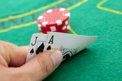 Ace of spades and black jack close up Stock Images