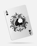 Ace of spades with a bullet hole isolated on white Royalty Free Stock Images