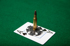 Ace of Spades with bullet Royalty Free Stock Photography