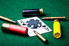 Ace of Spades with bullets Stock Photography