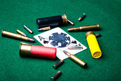 Ace of Spades with bullets Royalty Free Stock Images