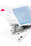 Ace of spades. Card and the playing cards pile Royalty Free Stock Images