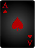 Ace spades card poker. Vector ace spades card poker with red letters and black card for casino poker Stock Photos