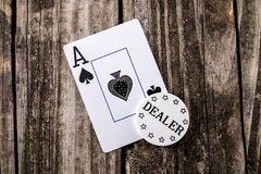 Ace of Spades Card on Wood stock image