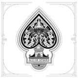 Ace of spades castle and thistle pattern inside. Black on white Royalty Free Stock Images