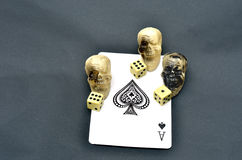 Ace of spades with dice Royalty Free Stock Photos