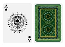 Ace of spades face with spades inside of shield in center of laurel wreath and back with golden green colors texture on suit. Vector card template royalty free illustration
