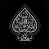 Ace of spades with flower pattern inside. white in black Royalty Free Stock Photos
