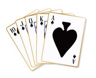 Ace Spades Flush. Playing cards making a ace spades flush over a white background stock illustration