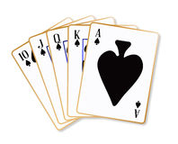 Ace Spades Flush. Playing cards making a ace spades flush over a white background vector illustration