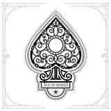 Ace of spades with forging curl pattern inside. Black on white Royalty Free Stock Image