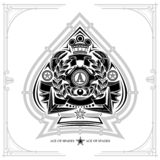 Ace of spades form with crab between laurel wreth and crossed harpoon inside. Design playing card element black. On white vector illustration