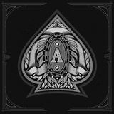 Ace of spades form with oval frame between laurel wreth and ribbon inside. Design playing card element white. On black stock illustration