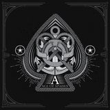 Ace of spades form with shield with anchor and crossed keys inside. Marine design playing card element white. On black stock illustration