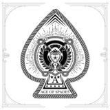 Ace of spades form with shield with crown between laurel wreath, cord and ribbon pattern inside. Marine design playing card elemen. T black on white stock illustration