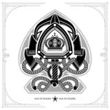 Ace of spades form with shield with sword between cord and ribbon pattern inside. Marine design playing card element black. On white royalty free illustration