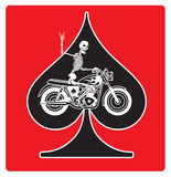 Ace of Spades with Skeleton Biker  design Royalty Free Stock Photo