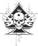 Ace of spades skull. Ace of spades with skull with a crown and a tribal Royalty Free Stock Photography