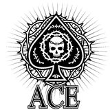 Ace of spades with skull. Gothic coat of arms with skull, grunge vintage design t shirts Stock Image