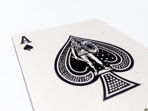 Ace-Spiess-/-spaten-Karte mit weißem Hintergrund Lizenzfreies Stockfoto