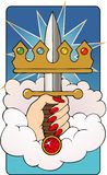 Ace of Swords Tarot card. The Ace of swords represents the beginning of new ideas, birth of a Hero Royalty Free Stock Photo