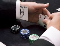 Ace up the sleeve. And gambling chips Stock Photo