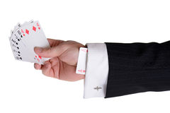 Ace up the sleeve. Concept of someone having an ace up their sleeve and having the upper hand Royalty Free Stock Images