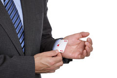 Ace up your sleeve. Business sayings ace up his sleeve magic trick or cheating in card game Stock Photography