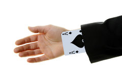 An ace up your sleeve. On white background isolated showing Royalty Free Stock Photo