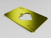 Ace van spades gouden speelkaart Stock Foto