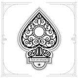 Ace van spades met binnen het patroon van de smeedstukkrul Zwarte op Wit Royalty-vrije Stock Afbeelding