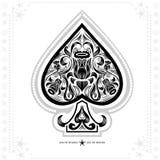 Ace van spades met bloem binnen patroon Zwarte in wit Stock Foto