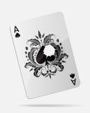 Ace van spades met een kogelgat op wit wordt geïsoleerd dat Royalty-vrije Stock Afbeeldingen