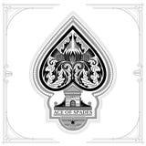 Ace van van de spadeskasteel en distel patroon binnen Zwarte op Wit Royalty-vrije Stock Afbeeldingen
